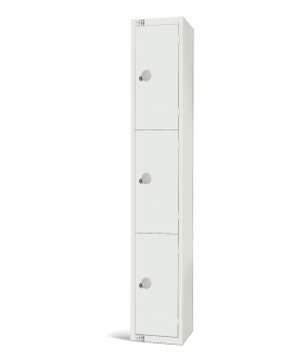 Elite White Three Door Compartment Locker