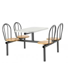 Wooden Polished Seat Canteen Seating Units Model DL/CU19