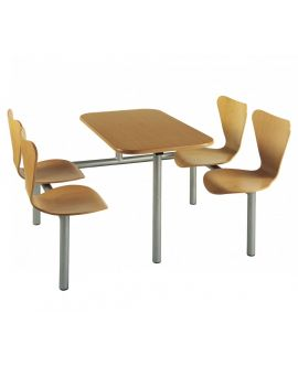Wooden Polished Seat Canteen Seating Units Model DL/CU21