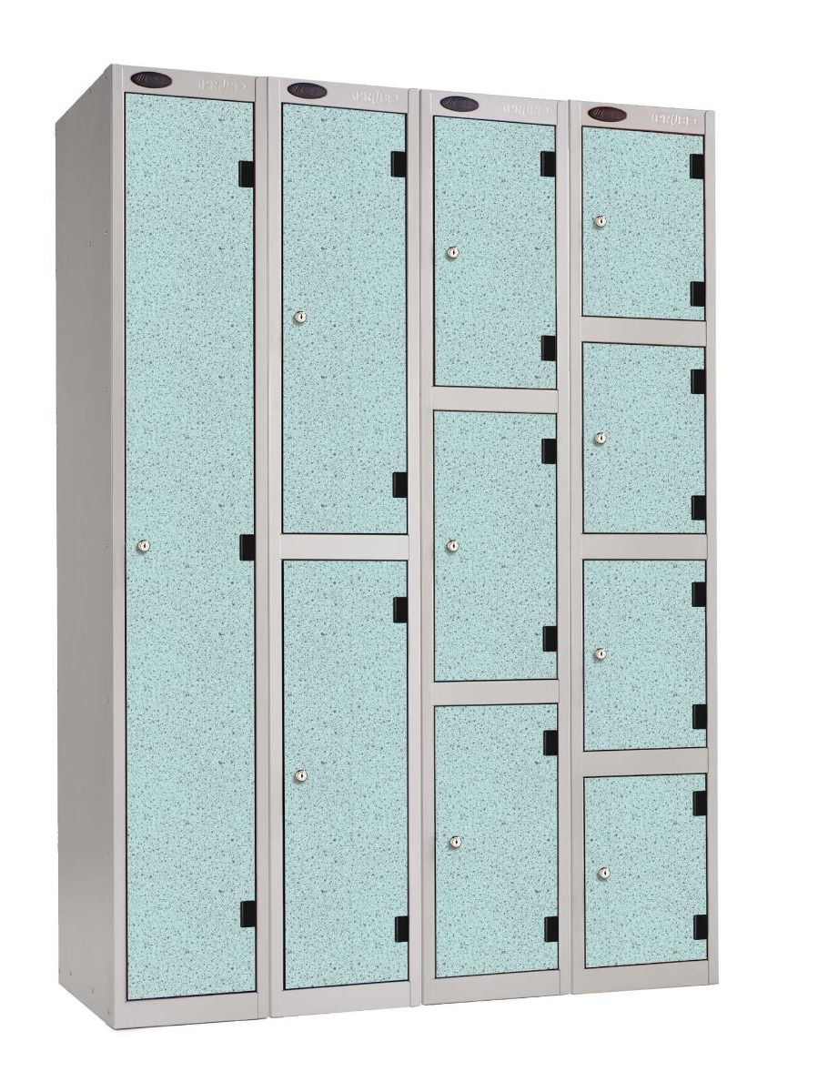 Laminate lockers - with solid grade laminate doors are the perfect choice for demanding wet or humid environments, such as spas, health centres, schools, leisure centres, swimming pools and the NHS.